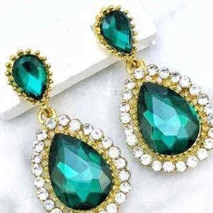 Green Crystal Rhinestone Occasion Earrings